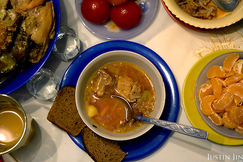 Yulia Gavrilenko serves borscht at home in the small Ukraine town of Poltova. Borsht is a traditional Ukrainian cuisine that has spreaded via Russia throughout the former Soviet sphere.