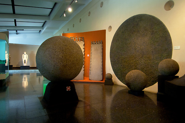 Costa Rica, San Jose, National Museum, Original Spherical Pre-Colombian Stone Display, Costa Rican Cultural Identity