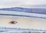 9 January 2016: Michael Zachrau, competing for Germany, slides through Curve 14 on his second run of the day during the BMW IBSF World Cup Skeleton Championships at the Olympic Sports Track in Lake Placid, New York, USA. Zachrau ended the day with a combined 2-run time of 1:50.70 and a 9th place overall finish. Mandatory Credit: Ed Wolfstein Photo *** RAW (NEF) Image File Available ***