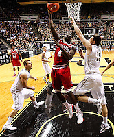WEST LAFAYETTE, IN - JANUARY 30: Victor Oladipo #4 of the Indiana Hoosiers shoots the ball against Donnie Hale #15 of the Purdue Boilermakers at Mackey Arena on January 30, 2013 in West Lafayette, Indiana. Indiana defeated Purdue 97-60. (Photo by Michael Hickey/Getty Images) *** Local Caption *** Victor Oladipo; Donnie Hale