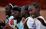 Members of the Christ the King Catholic parish in Malakal, Southern Sudan, sing and dance during Mass on November 21, 2010. NOTE: In July 2011 Southern Sudan became the independent country of South Sudan.