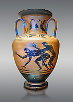 Erotic 5th cnetury BC attica style anfora of two men, black against an potrange background, Caolina Murat Collection inv no 27670, Secret Museum or Secret Cabinet, Naples National Archaeological Museum , grey background