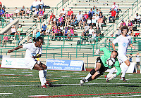 Mark Murphy #32 of Crystal Palace Baltimore is beaten by Gregory Richardson #20 of the Carolina Railhawks for the first Carolina goal during an NASL match at Paul Angelo Russo Stadium in Towson, Maryland on September 18 2010.