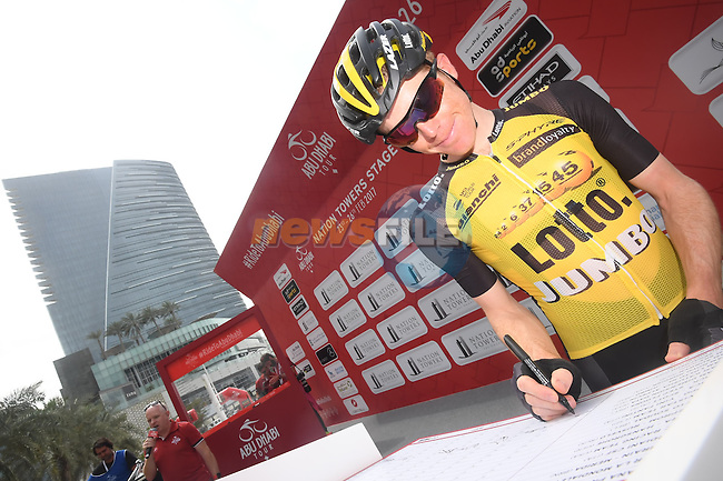 Steven Kruijswijk (NED) Team Lotto NL-Jumbo at sign on before the start of Stage 2 the Nation Towers Stage of the 2017 Abu Dhabi Tour, running 153km around the city of Abu Dhabi, Abu Dhabi. 24th February 2017<br /> Picture: ANSA/Claudio Peri | Newsfile<br /> <br /> <br /> All photos usage must carry mandatory copyright credit (&copy; Newsfile | ANSA)