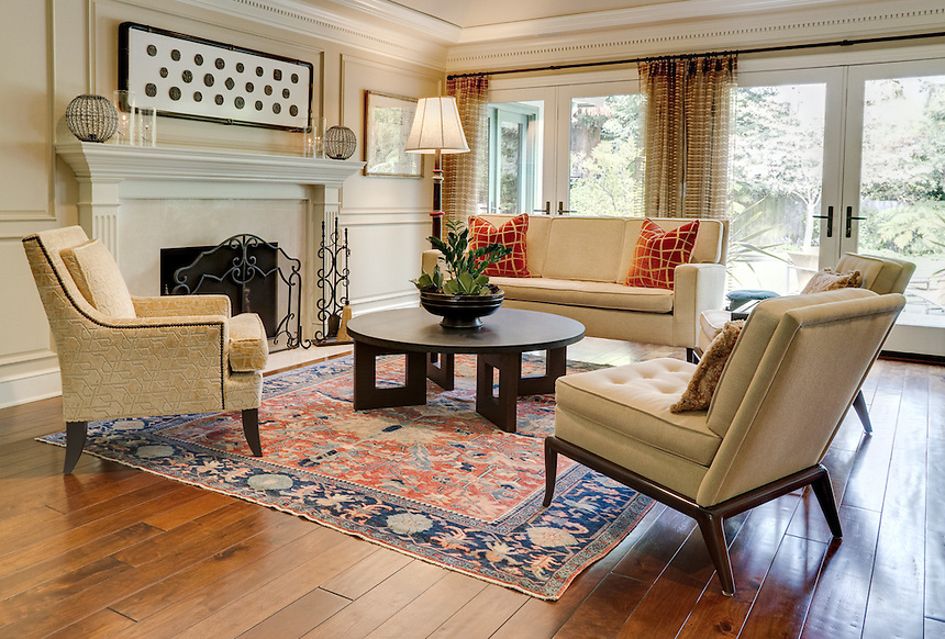 Formal living room with hardwood floors and afghan Living room hardwood floor pictures