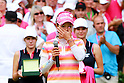 Ai Miyazato (JPN),JULY 24, 2011 - Golf :Ai Miyazato of Japan wipes away her tears as she speaks after winning the Evian Masters at the Evian Masters Golf Club in Evian-les-Bains, France. (Photo by Yasuhiro JJ Tanabe/AFLO)