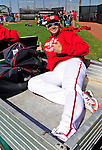 "28 February 2010: Washington Nationals third baseman Ryan Zimmerman gives the ""thumbs up"" for the upcoming season while getting a ride in a cart after Spring Training drills at the Carl Barger Baseball Complex in Viera, Florida. Mandatory Credit: Ed Wolfstein Photo"