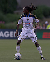 Philadelphia Union midfielder Keon Daniel (17) at midfield.  In a Major League Soccer (MLS) match, the Philadelphia Union defeated the New England Revolution, 3-0, at Gillette Stadium on July 17, 2011.