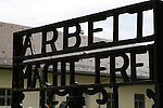 """Work Makes You Free."" The infamous slogan on the gate of the Dachau concentration camp. Used primarily for political prisoners, more than 206,000 people passed through this gate, and nearly 32,000 of them died there. Dachau, Germany Oct. 4, 2007."