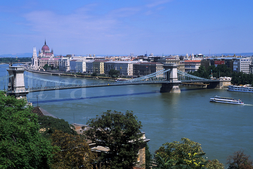 Danube River and Chain Bridge with Parliament in Budapest Hungary
