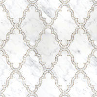 Dervish, a waterjet and hand cut stone mosaic shown in polished Calacatta Tia, is part of the Silk Road Collection by Sara Baldwin for New Ravenna Mosaics.