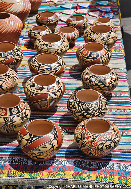 Colorful pottery  for sale at the Santa Fe Indian Market.