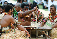 Preparing traditional Kava drink at ceremony, Fiji, South Pacific