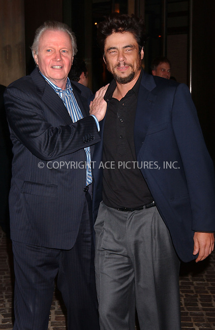 WWW.ACEPIXS.COM . . . . . ....October 6 2007, New York City....Actor John Voight and Benicio Del Toro arriving at a screening of 'Things we lost in the Fire' presented by The Cinema Society at the Tribeca Grand Hotel....Please byline: KRISTIN CALLAHAN - ACEPIXS.COM.. . . . . . ..Ace Pictures, Inc:  ..(646) 769 0430..e-mail: info@acepixs.com..web: http://www.acepixs.com