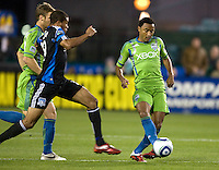 James Riley of Sounders controls the ball away from Ryan Johnson of Earthquakes during the game at Buck Shaw Stadium in Santa Clara, California on April 2nd, 2011.   San Jose Earthquakes and Seattle Sounders are tied 1-1 at halftime.