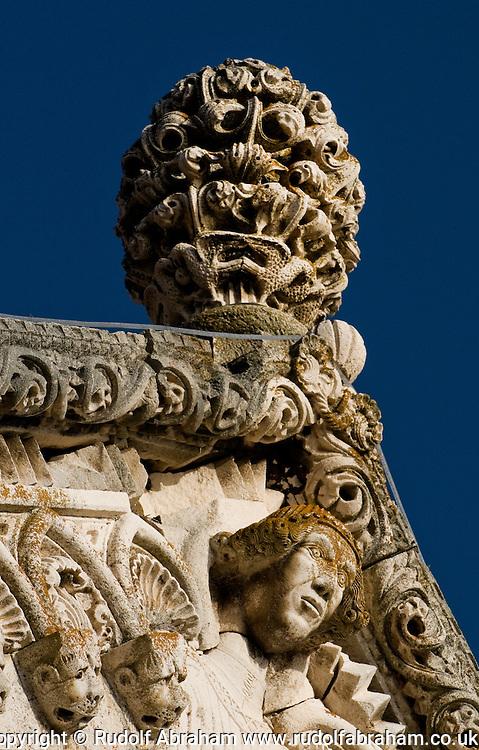 Sculpture on the facade of st mark s korcula croatia