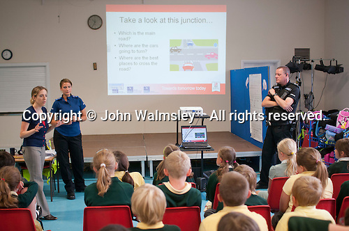 Presentation by the Council Antisocial Behaviour Order Officer and local police to primary school kids on keeping safe, particulary on the way to school.