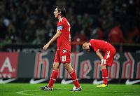 FUSSBALL   1. BUNDESLIGA   SAISON 2011/2012    12. SPIELTAG SV Werder Bremen - 1. FC Koeln                              05.11.2011 Pedro GEROMEL (lI) und Miso BRECKO (re, beide Koeln) nach dem Abpfiff enttaeuscht
