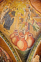 The 11th century Roman Byzantine Church of the Holy Saviour in Chora and its mosaic of the miracle of Christ turning water into wine.  Endowed between 1315-1321  by the powerful Byzantine statesman and humanist Theodore Metochites. Kariye Museum, Istanbul