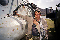 The Afghan double of Charlie Chaplin filing up the tanker of a Russian Helicopter in the heart of the Panshir Valley.