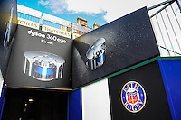 A general view of Dyson branding in the tunnel leading to the pitch. Aviva Premiership match, between Bath Rugby and Worcester Warriors on September 17, 2016 at the Recreation Ground in Bath, England. Photo by: Patrick Khachfe / Onside Images