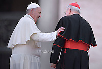 Pope Francis  Cardinal Agostino Vallini,audience to the participants at the Convention of Rome Diocese at St Peter's square on June 14, 2015 at the Vatican.
