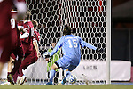 25 November 2012: UNC's Cameron Brown scores the game-winning goal. The University of North Carolina Tar Heels played the Farleigh Dickinson Knights at Fetzer Field in Chapel Hill, North Carolina in a 2012 NCAA Division I Men's Soccer Tournament third round game. UNC won the game 1-0 in overtime.