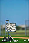 28 February 2010: A fully laden Baseball Carrier rests ready on the field prior to the Washington Nationals batting practice during Spring Training at the Carl Barger Baseball Complex in Viera, Florida. Mandatory Credit: Ed Wolfstein Photo