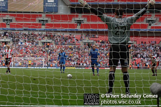 Exeter City 1 Morecambe 2, 20/05/2007. Wembley Stadium, Conference Play Off Final. The Conference Play Off Final between Exeter City and Morecambe from Wembley Stadium. Morecambe won the game 2-1 to gain promotion to the football league for the first time in their history. Photo by Simon Gill.