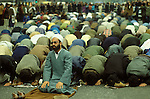 Iranian Embassy siege London England 5th May 1980. Groups of Muslims pray in Knightsbridge for a peaceful ending of the siege.The Iranian hostage-takers had opposed Ayatollah Khomeini and demanded freedom for the southern Iranian province of Khuzestan. But their cause was soon forgotten when war broke out between Iran and Iraq in late 1980 - a conflict that was to last eight years.