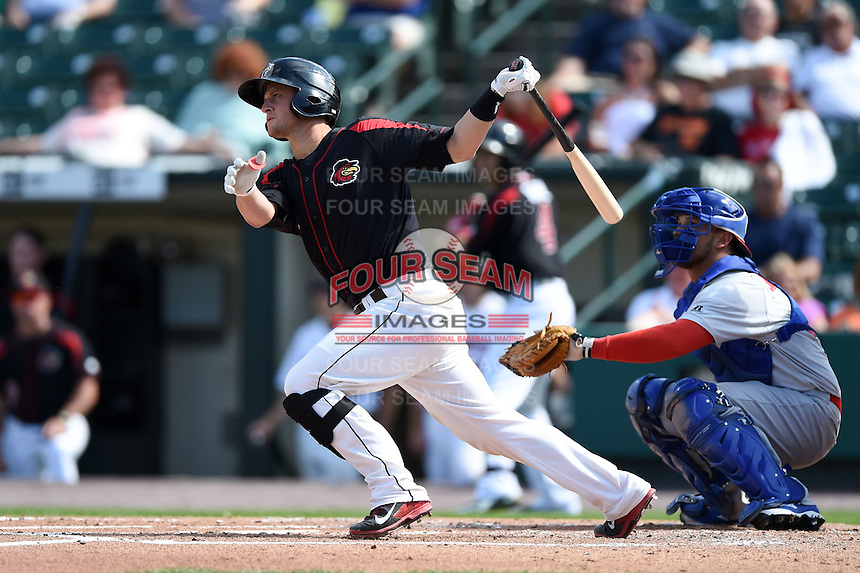 Rochester Red Wings catcher Dan Rohlfing (16) at bat during the first game of a doubleheader against the Buffalo Bisons on July 6, 2014 at Frontier Field in Rochester, New  York.  Rochester defeated Buffalo 6-1.  (Mike Janes/Four Seam Images)