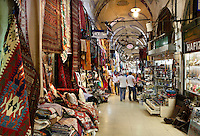 Grand Bazar, 15th century, Istanbul, Turkey. The Grand Bazaar, containing two bedestens (storage domes) is one of the largest and oldest covered markets in the world, selling jewellery, pottery, spice, and carpets. It was restored in the 16th and 19th centuries. Picture by Manuel Cohen.