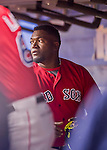 2 April 2016: Boston Red Sox designated hitter David Ortiz looks out from the dugout during a pre-season exhibition game against the Toronto Blue Jays at Olympic Stadium in Montreal, Quebec, Canada. The Red Sox defeated the Blue Jays 7-4 in the second of two MLB weekend games, which saw a two-game series attendance of 106,102 at the former home on the Montreal Expos. Mandatory Credit: Ed Wolfstein Photo *** RAW (NEF) Image File Available ***