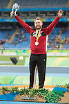 RIO DE JANEIRO - 9/9/2016:  Alister McQueen receives his silver medal ceremony for the Men's Javelin Throw - F44 in the Olympic Stadium during the Rio 2016 Paralympic Games. (Photo by Matthew Murnaghan/Canadian Paralympic Committee