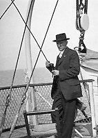 Niagara Falls, New York:  Brady Stewart on deck of the Dalhousie City Ferry in route to Queenston Ontario - 1914
