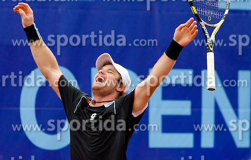 Blaz Kavcic of Slovenia  celebrates after winning the final match against David Goffin of Belgium during day five of the ATP Challenger  BMW Ljubljana Open 2010, on September 26, 2010,  in TC Ljubljana Siska, Slovenia. Kavcic defeated Goffin 6:2, 4:6, 7:5.  (Photo by Vid Ponikvar / Sportida)