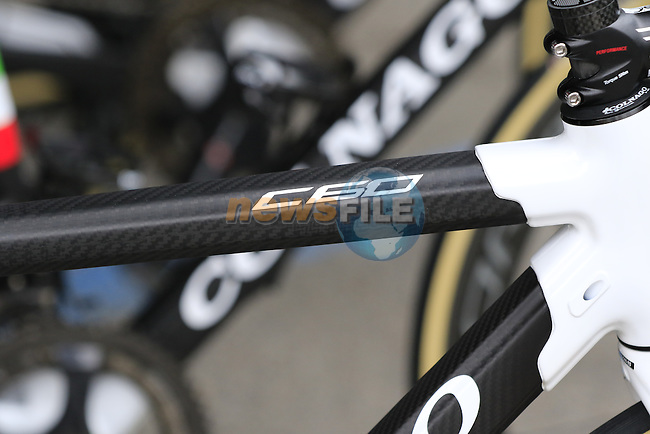 Wiggle High5 team Colnago C60s lined up at team bus sign on before the start of the Ladies 2017 Strade Bianche running 127km from Siena to Siena, Tuscany, Italy 4th March 2017.<br /> Picture: Eoin Clarke | Newsfile<br /> <br /> <br /> All photos usage must carry mandatory copyright credit (&copy; Newsfile | Eoin Clarke)