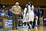 14 November 2013: Duke assistant coach Al Brown (left) talks to Chelsea Gray (12). The Duke University Blue Devils played the University of South Carolina Upstate Spartans at Cameron Indoor Stadium in Durham, North Carolina in a 2013-14 NCAA Division I Women's Basketball game. Duke won the game 123-40.