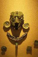 Jade burial mask and ornaments from the Mayan ruins of Calakmul, Museo de Cultura Maya in Fuerte de San Miguel, Campeche city, Mexico