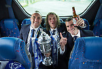 St Johnstone v Dundee United....17.05.14   William Hill Scottish Cup Final<br /> Lee Croft, Stevie May and James Dunne with the trophy on the journey back to Perth<br /> Picture by Graeme Hart.<br /> Copyright Perthshire Picture Agency<br /> Tel: 01738 623350  Mobile: 07990 594431