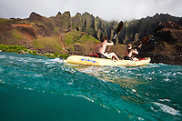 Kayaking Kauai's northern Na Pali coastline wilderness area