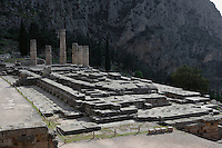 DELPHI, GREECE - APRIL 12 : A general view of the Temple of Apollo from the north-west with the Phaedriad rocks in the background, on April 12, 2007 in the Sanctuary of Apollo, Delphi, Greece. The ruins of the Temple of Apollo belong to the 4th century BC, the third temple built on the site, still in the Doric order and completed in 330BC. Its architects were the Corinthians Spintharos Xenodoros and Agathon. (Photo by Manuel Cohen)