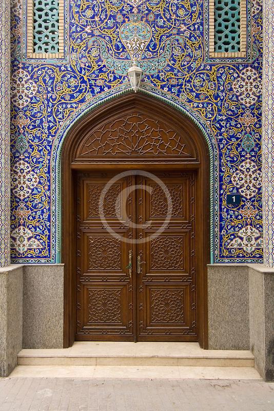 United Arab Emirates, Dubai, Blue tiled doorway, Iranian Mosque, Bur Dubai