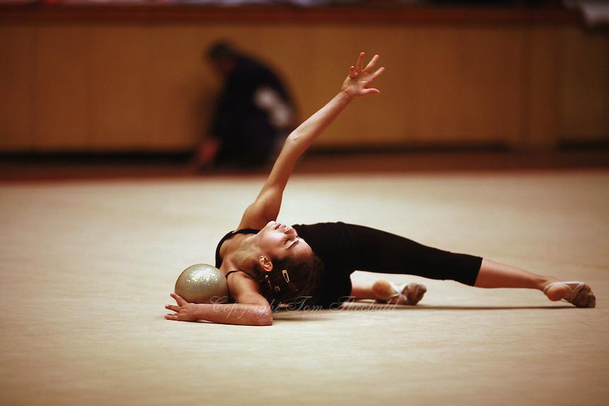 Anahi Sosai of Argentina trains ball before Burgas Grand Prix Rhythmic Gymnastics on May 5, 2006.  (Photo by Tom Theobald)