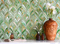 Margot, a jewel glass waterjet mosaic, is shown in Emerald.