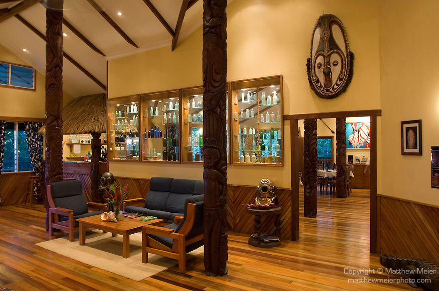 Milne Bay, Papua New Guinea; Tawali Resort, interior views of lobby , Copyright © Matthew Meier, matthewmeierphoto.com