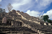 Structure II, the Great Pyramid at the Mayan ruins of Calakmul, Campeche, Mexico. This is the most massive pyramid bult by the ancient Maya. Calakmul is located in the 7,231.85 square km Calakmul Biosphere Reserve, which was established in 1989. Calakmul was made a UNESCO World Heritage Site in 2002.