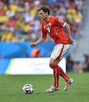 FUSSBALL WM 2014  VORRUNDE    Gruppe D     Schweiz - Ecuador                      15.06.2014 Admir Mehmedi (Schweiz) am Ball