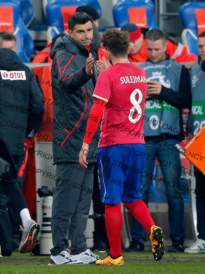 Radovan Curcic Miralem Sulejmani  Poljska - Srbija prijateljska, Poland - Serbia friendly football match, March 23. 2016. Poznan  (credit image & photo: Pedja Milosavljevic / STARSPORT)
