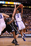 5 APR 2010: Nolan Smith (2) from Duke attempts a shot during the championship game of the Men's Final Four Basketball Championship held at Lucas Oil Stadium in Indianapolis, IN. Duke went on to defeat Butler 61-59 to claim the championship title. Rich Clarkson/NCAA Photos